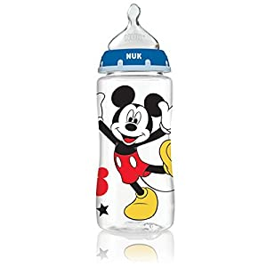 NUK Disney Orthodontic Bottle with Silicone Nipple, 10 Ounce, 3 Count from NUK