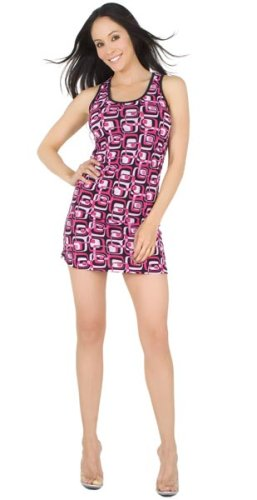 Sexy Designer Mod Geometric Racer-Back Dress from Hot Fash Dresses - KANE Fuchsia