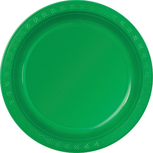 Plastic Green Dinner Plates, 8ct - 1
