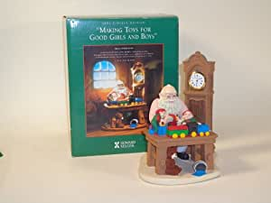 Howard Miller 1997 Limited Edition Making Toy For Good Girls and Boys Grandfather Clock Figurine with Santa Workbench