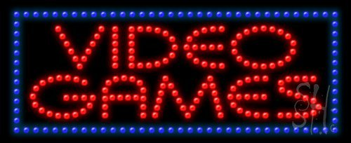 """Video Games Animated Outdoor Led Sign 11"""" Tall X 27"""" Wide X 3.5"""" Deep"""