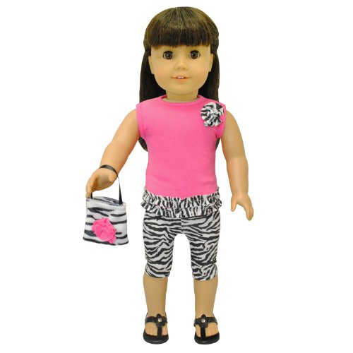 Doll Clothes - Zebra Print Outfit Set Purse Pink Fits American Girl Doll, My Life Doll, Our Generation and other 18 inch Dolls