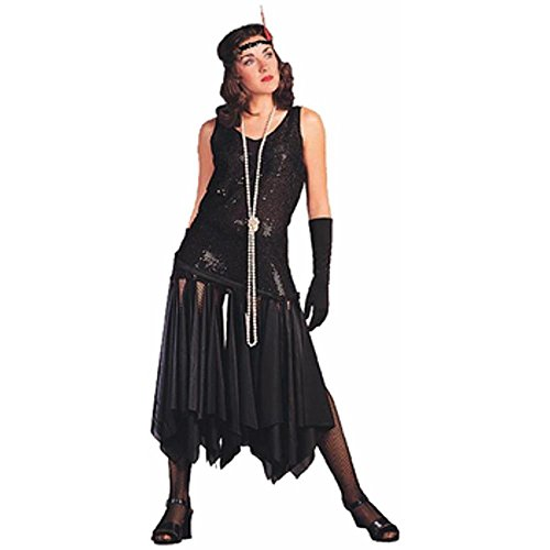 Women's Black 20's Scarf Flapper Dress Costume (Size: Standard 8-12)