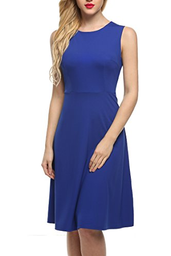 ANGVNS-Womens-Sleeveless-Solid-Fit-and-Flare-A-Line-Dress