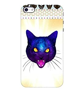 PrintDhaba Angry Kitty Face D-2862 Back Case Cover for APPLE IPHONE 5S (Multi-Coloured)