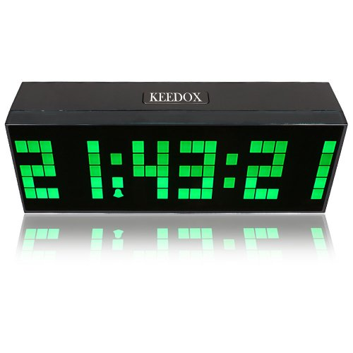 KEEDOX® Large Digital Display Jumbo LED Wall Desk Calendar Alarm Clock with Ac Adapter, Saving Energy!! Green Light