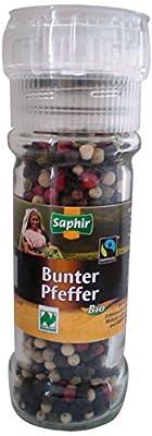 Saphir Bio Bunter Pfeffer ganz, Naturland, FairTrade, Mehrweg-Mühle, 2er Pack (2 x 45 g) von Saphir auf Gewürze Shop