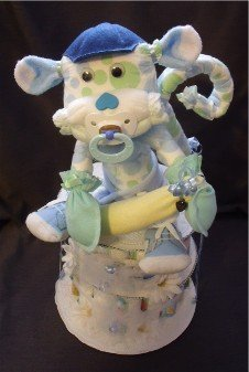 Blue Monkey Baby Shower Gift Diaper Cake Centerpiece front-47705