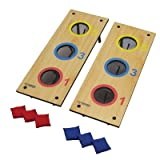 Triumph #35-7071 is a 2 in 1 3 Hole Bag Toss and Washer Toss Game in Black and Natural Wood Color