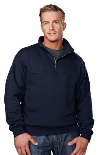 Men'S React Cotton Poly 1/4 Zip Firefighter'S Work Shirt, Color: Navy, Size: Xxxx-Large Tall front-627154