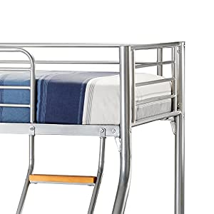 Happy Beds Bunk Bed Atlas Triple Sleeper Solid Metal With 2x Pocket Sprung Mattresses 3' Single 90 x 190 cm 4'6'' Double 135 x 190 cm