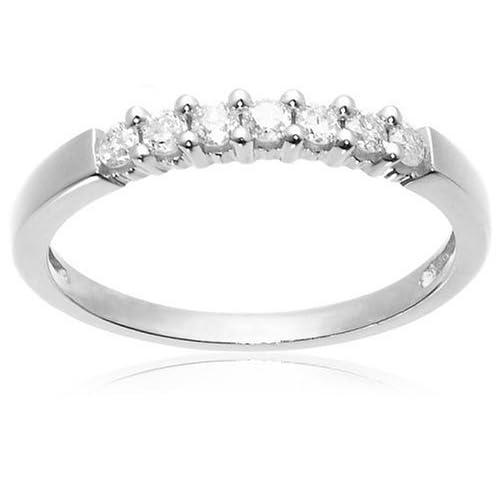 Round 7-Stone 10k White Gold Ring