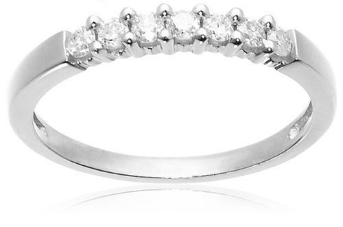 10k White Gold Round 7-Stone Diamond Ring (1/4 cttw, H-I Color, I2-I3 Clarity), Size 7