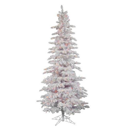 Pre Lit Christmas Tree Fuses: 7.5′ Pre-Lit Flocked White Spruce Slim Christmas Tree