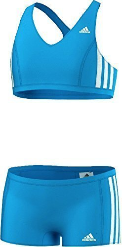 adidas Mädchen Bikini 3-Stripes 2 Teiler, Blau/Weiß, 128, AB6868
