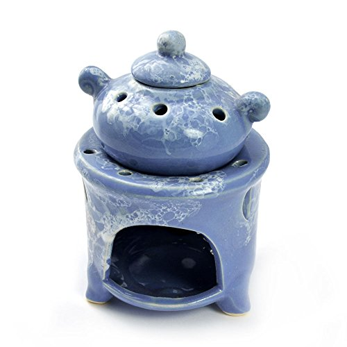 Quemador de esencias, jarrita para bombillas de bajo consumo con aroma, lámpara aromática en cerámica, 3 teilig, aroma grabadora, para aceites esenciales, colour azul - colour