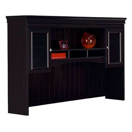 Hutch for L-shaped Desk in Antique Black and Hansen Cherry Finish By Bush Furniture