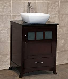 24 bathroom vanity cabinet black stone top vessel sink tr7 amazon