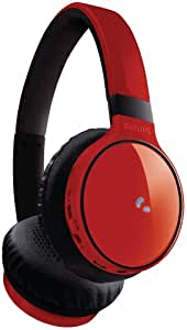Philips SHB9100RD/00 Bluetooth Kopfhörer mit Freisprechfunktion (Deluxe-Floating-Cushions, USB-Ladekabel, 3,5mm Audio In) rot