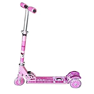 3 Wheel Kids Kick Scooter with LED Lights on Wheel (Pink Color) available at Amazon for Rs.745