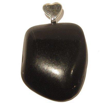 Jet Pendant 02 Stone Black Tumbled Silver Heart Crystal Healing Rock 1.8
