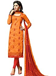 M Fab Ethnic Printed And Embroidered Orange And Percian Red jacquard Free Size Straight Chudidar Salvar Suit Dress Material