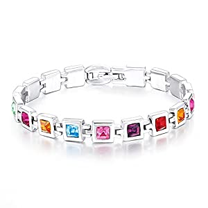 Mondaynoon Austrian Crystal Bracelets For Women (Sky) (Multicolor)