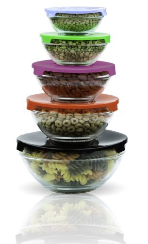 Imperial Home MW1640 Glass Mixing Bowls Glass Food Storage Containers With Multi Color Lids Total 10 pcs Set (Microwavable Mixing Bowl Set compare prices)