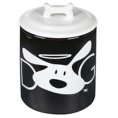 DogIsGood DI5201 17 Halo Treat Canister, 32-Ounce, Black