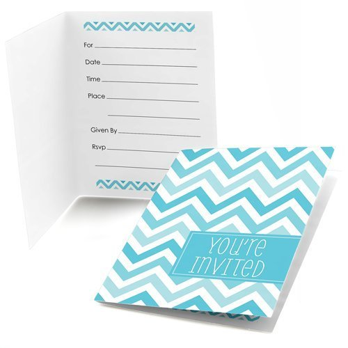 Chevron Blue Fill-in Party Invitations (8 count)