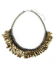 Per Una Pear Leaf & Multi-Faceted Bead Necklace