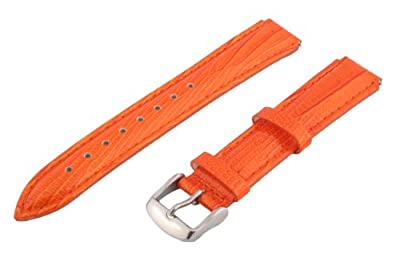 Clockwork Synergy® - 18mm x 15mm - Orange Lizard Grain Leather Watch Band fits Philip stein Small