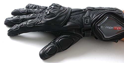 MAX MPH Apex SP-1 Leather Motorcycle Motorbike Gloves - choice of colours, knuckle, carbon finger & cuff protection