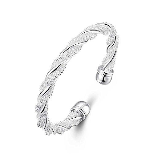 Braccialetti di lusso di nuovo fascino per le donne fai da te intrecciata rete metallica braccialetto di modo rotonda modella i monili d'argento dei braccialetti di modo del regalo
