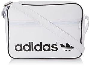 adidas Umhängetasche Adicolor Airliner F79335, Weiß/Schwarz, 17 Liter (38 x 12 x 28 cm)