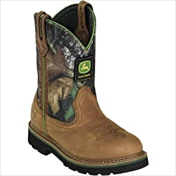 John Deere Johnny Popper Kid\'s Camo Leather Boots 5 M