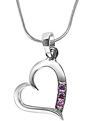Surat Diamonds Heart Shaped Pink Rhodolite & Sterling Silver Pendant With Silver Finished Chain For Women (SDP278)