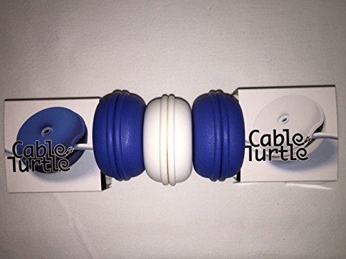 "Cableorganizer.Com, Cable Turtle Small Kit, Material: Flexible Plastic, Color: 2 Blue & 1 White, Dimensions: 2.5"" Diameter X 1.25"" H, Qty: 1 Bag (2 Blue & 1 White Per Bag)"