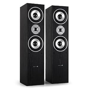 Hyundai Multicav Floor Standing Speakers (700W Max, Bass Reflex & Gold Speaker Terminals) - Black Ash Finish