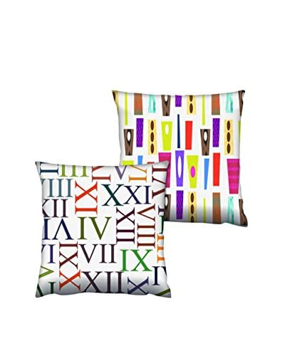 Gravel Set of 2 Roman Numeral & Abstract Print Throw Pillows, Multi