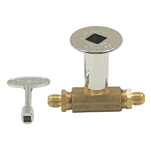 """Dreffco 3/8"""" Low Flow Chrome Keyed Main Shut Off Ball Valve for LP or NG Fire Pits"""