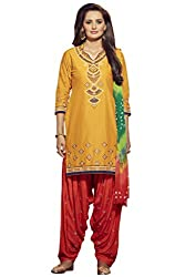 Kvsfab Yellow & Red Pure Cotton embroiderd dress Material(patiala un-stitched_KVSSK7854PA_44)