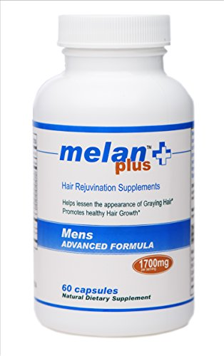 Gray Hair Treatment Reverse Gray Hair Naturally Melanplus Supplements for Gray Hair | Hair Growth Enhancer MEN'S FORMULA 60 Capsules 30 Day Supply