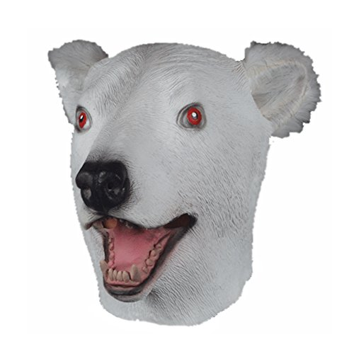Latex Full Head POLAR BEAR Mask w/ Faux Fur