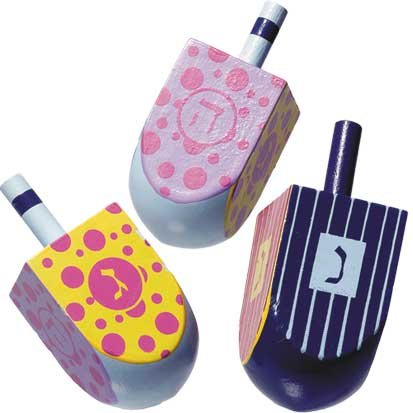 Painted Wooden Hanukkah Dreidel (Colors May Vary) - 1