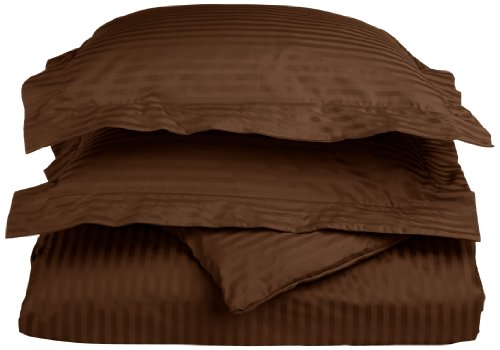 Egyptian Cotton 650 Thread Count Full/Queen Duvet Cover Set Stripe, Chocolate front-645060