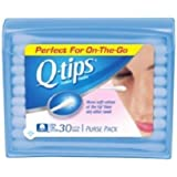 Q Tips Cotton Swabs Travel Size, 30 Count, (Pack Of 12)