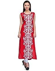 Banjara Ethnic Red Color Rayon Fabric Women's Straight Kurti
