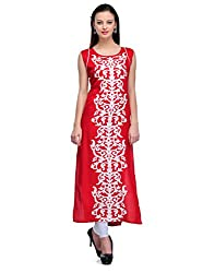 Awesome Fab Red Color Rayon Fabric Women's Straight Kurti