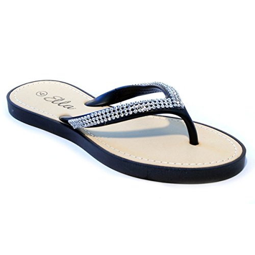 Womens Summer Diamante Flip Flops Beach Sandals Black 4-37